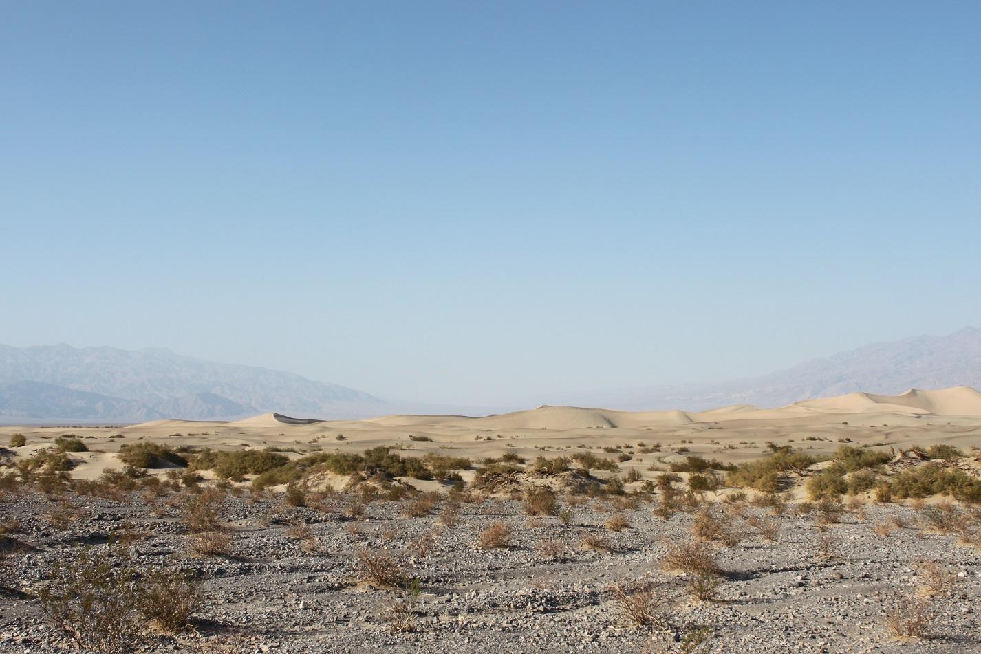 In dem Death Valley gibt es weitläufige Dünenlandschaften.