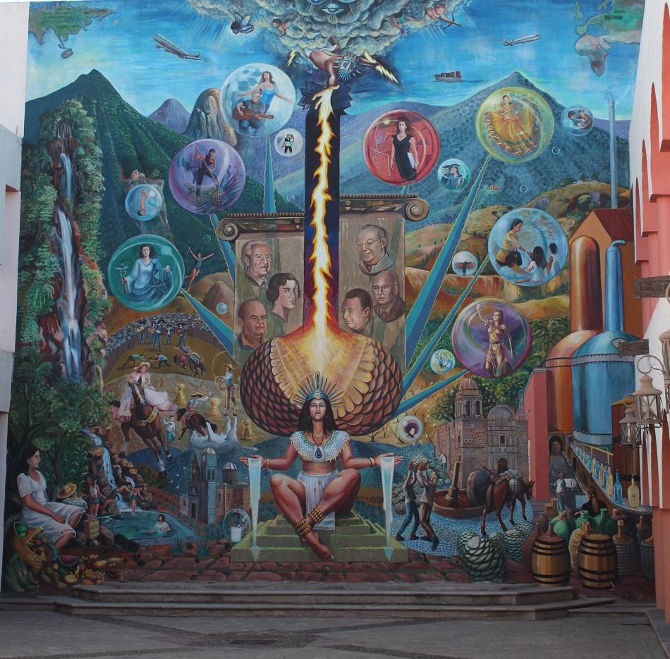 Die Gottheiten stritten sich untereinander, wie man den Menschen ein zugleich himmlisches und berauschendes Getränk bereiten könne. Während des hitzigen Streites löste sich ein Blitz, der in ein Agavenfeld einschlug. Das entzündete Feuer brachte die Agaven zum Kochen. Angelockt vom wohligen Geruch der gegarten Agaven, fanden die einheimischen Azteken Gefallen an dem neuen Getränk aus dem Herzen der Agave – insbesondere, wenn dieses nach wenigen Tagen vergoren war und seine berauschende Wirkung entfaltete.