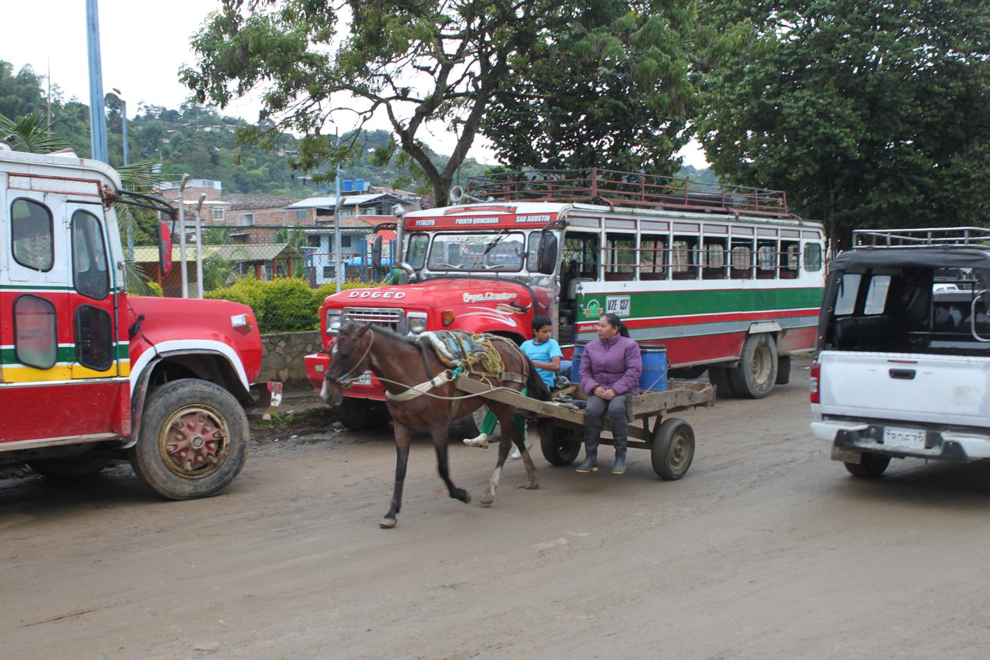 Der Pferdewagen ist ein gängiges Fortbewegungsmittel in San Augustin.