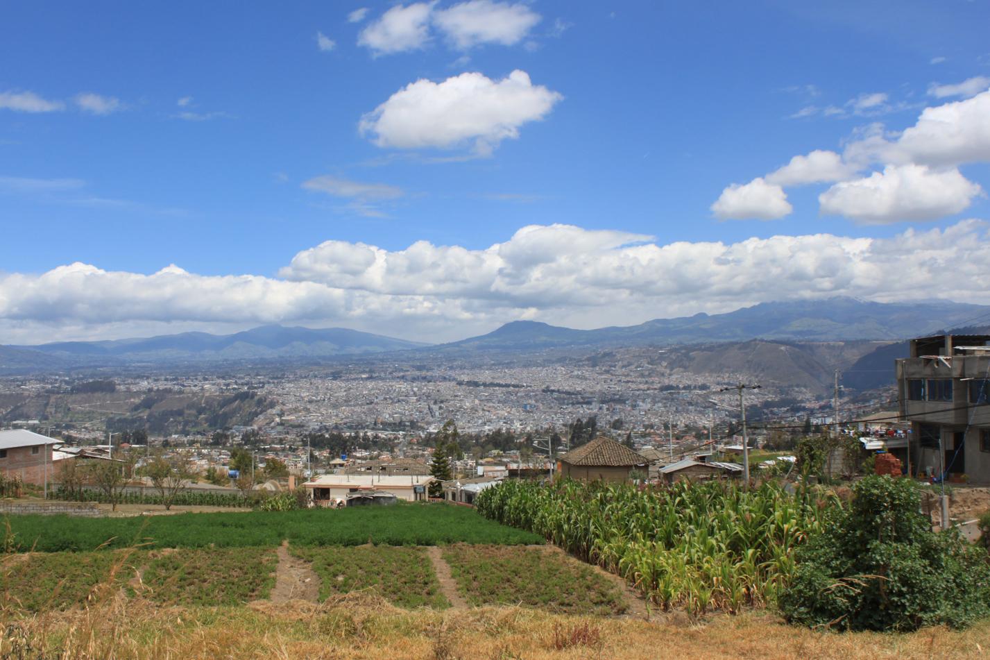 Blick auf die Monsterstadt Ambato.