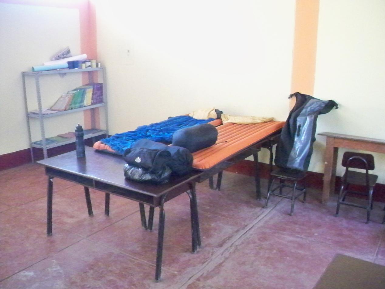 Unser Nachtlager in der Schule von Chinche.