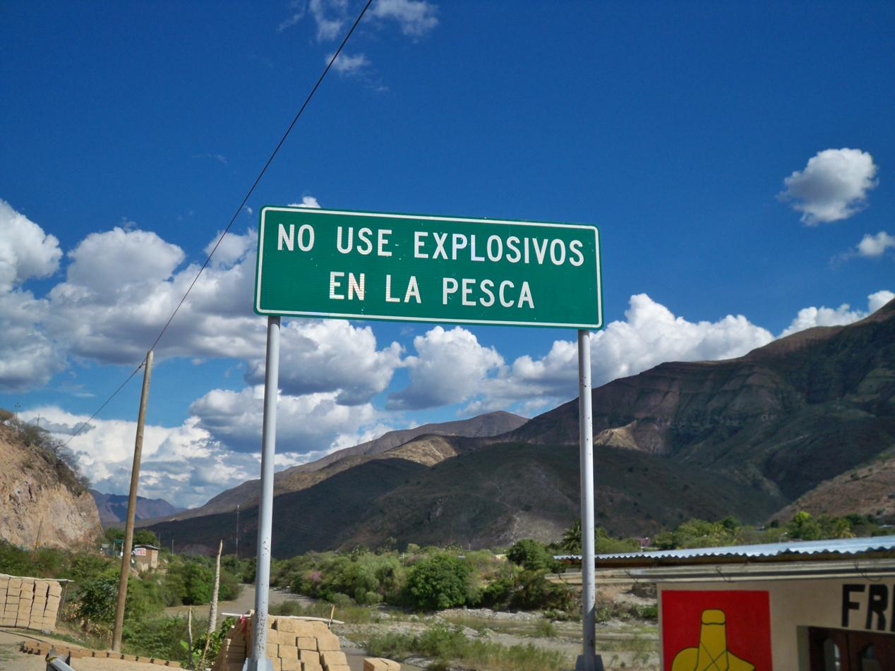 Nichts explosives zum Fischen nutzen! Hier gibt es Schilder...