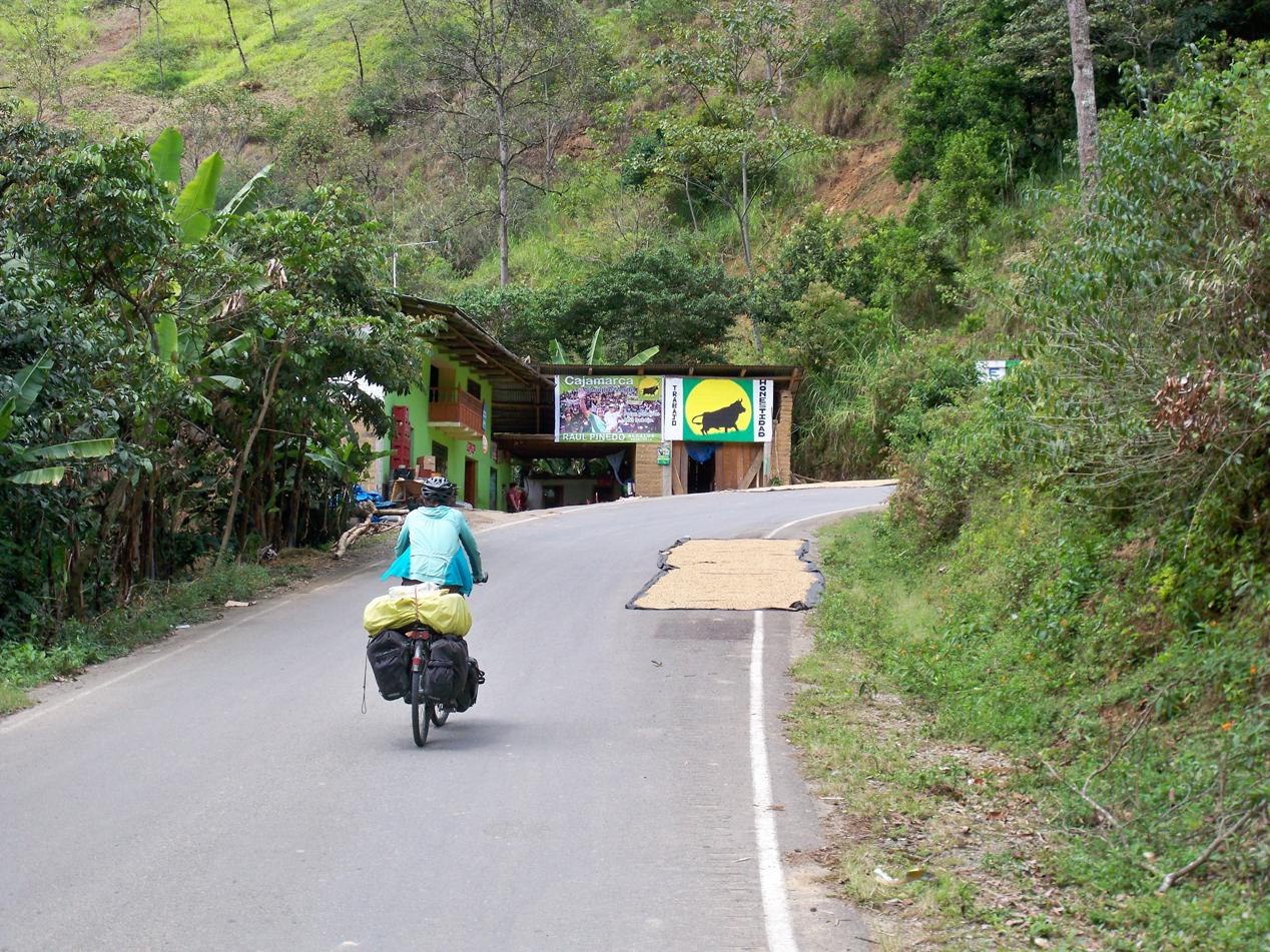 Entlang des Weges wechselten sich Kaffee- und Bananenplantagen ab. Vor uns wird gerade wieder Kaffee, auf der Straße, getrocknet.