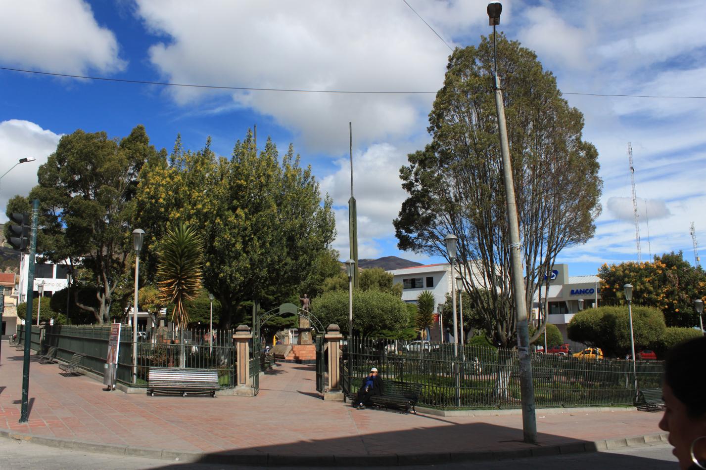Blick auf den Plaza de Amas von Cañar. Dort gab es sogar WIFI.