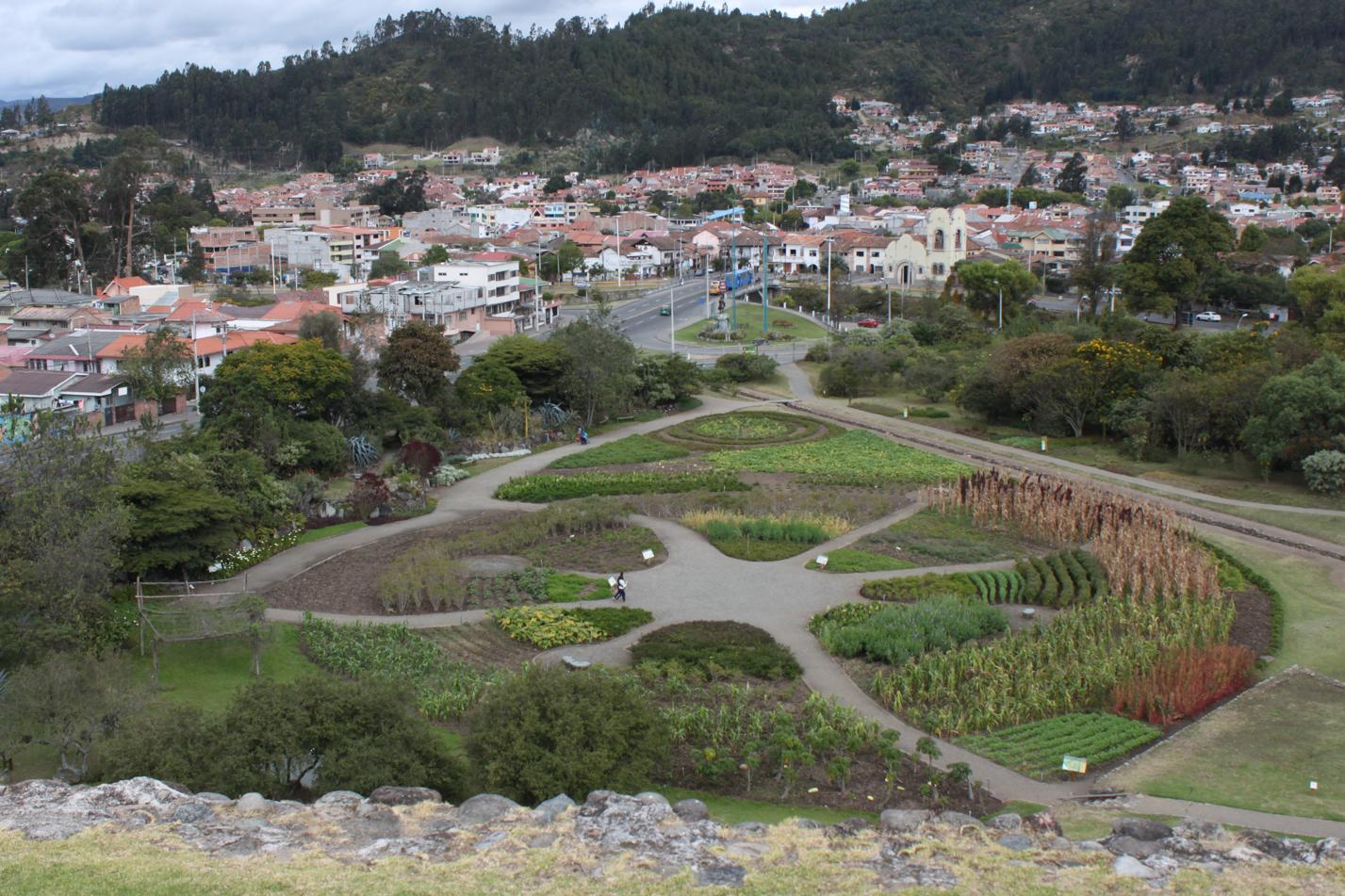 Blick vom Inka - Berg Pumapungo auf den Park.