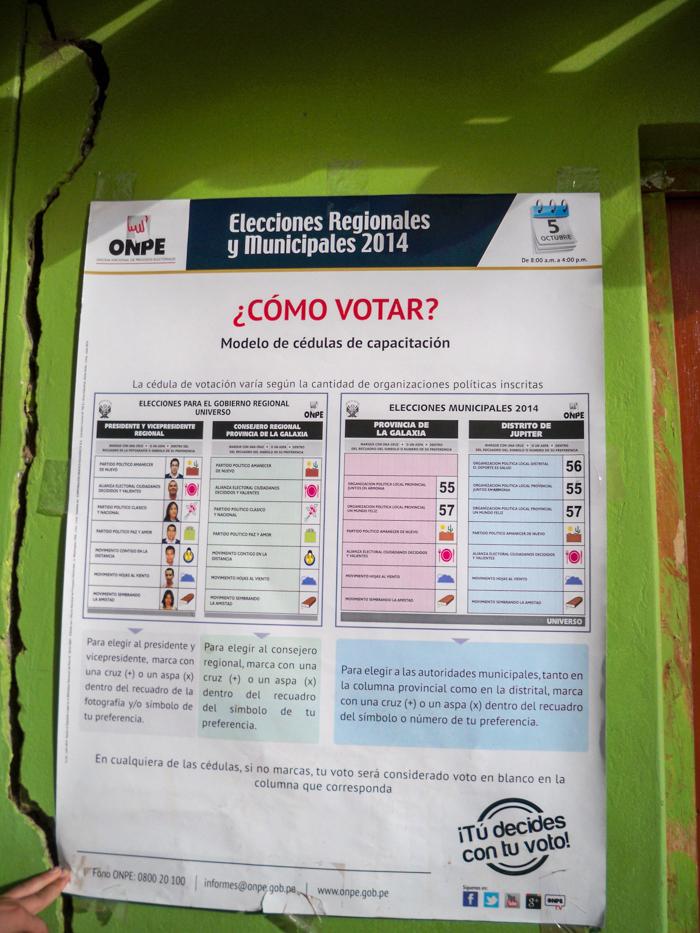 Damit sich auch jeder zur Wahl traut, kann er sich schon vorzeitig mit dem Wahlzettel vertraut machen. Diese Zettel sind an Municipalgebäuden, Krankenhäusern, Läden und ... aufgehangen.