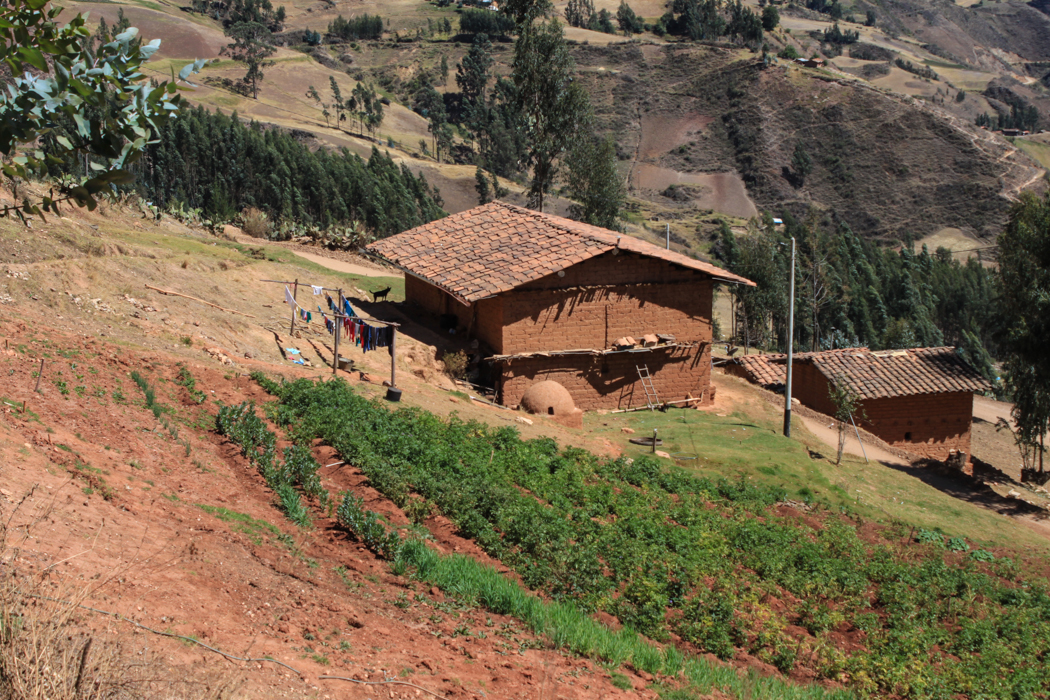 Typisches Haus einer Familie mit kleinem Kartoffelfeld.