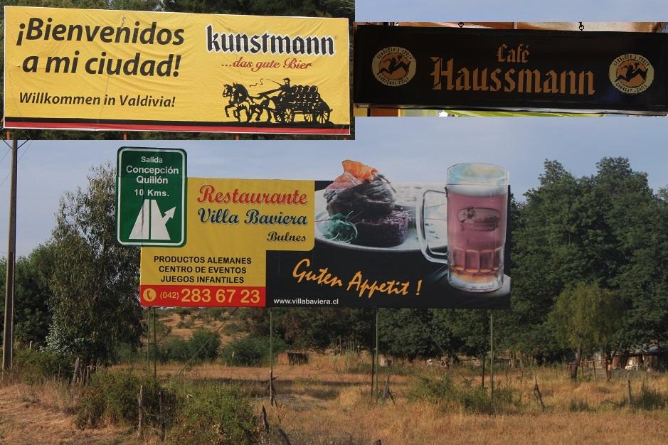 """Diese Schilder zaubern uns immer ein Schmunzeln aufs Gesicht. Es wird zu dem Konsum von Bier, deutschen Gerichten und """"Kuchen"""" aufgerufen. In Chile heißt der Kuchen nicht Pastel sondern wirklich """"Kuchen""""."""